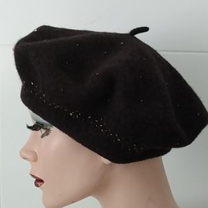 Nine West Beaded Beret French Hat Brown